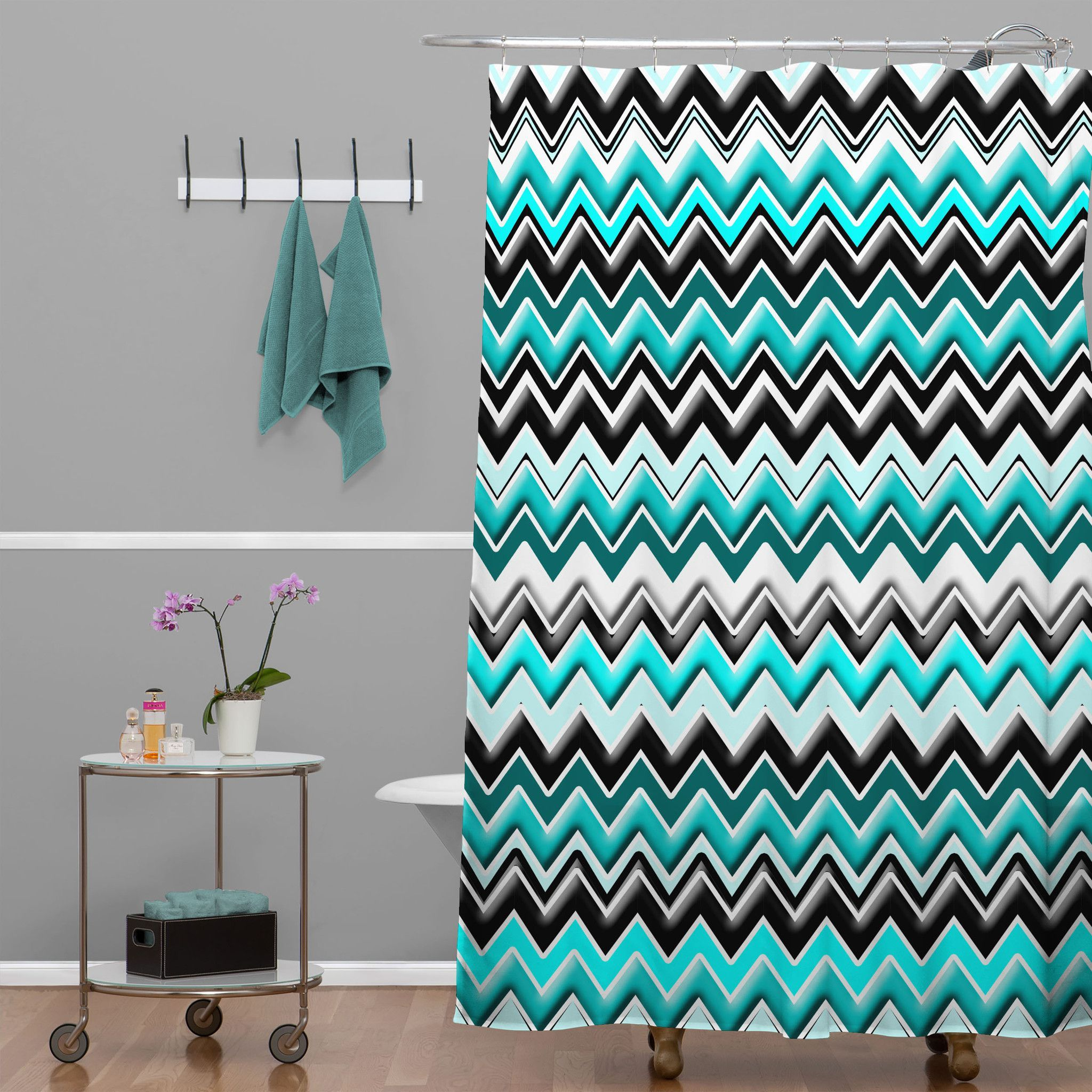 Turquoise Black And White Chevron Shower Curtain Teal Curtains Bathroom