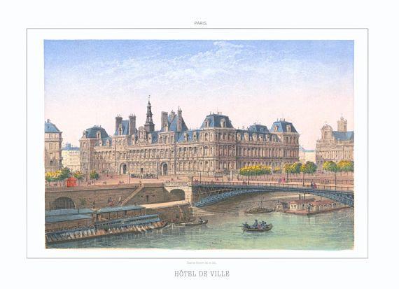 Paris Print Art Hotel De Ville Wedding Gift Boho Vintage Shabby