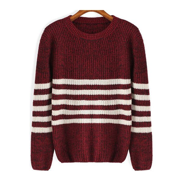 SheIn(sheinside) Round Neck Striped Knit Red Sweater (€13) ❤ liked on Polyvore featuring tops, sweaters, jumpers, burgundy, red knit sweater, long sleeve sweater, color-block sweater, knit sweater and pullover sweaters