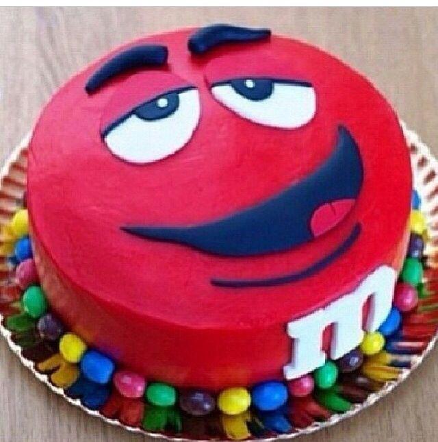 M M Red Cake With Images Cake Cupcake Cakes Birthday Cake Kids