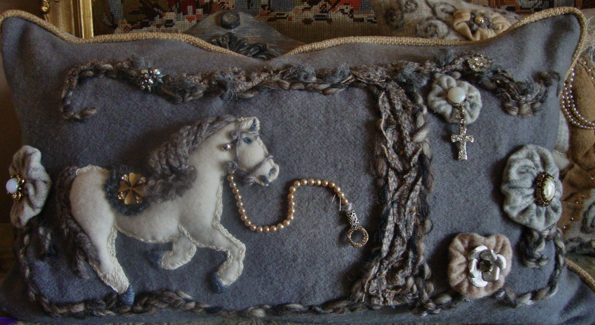 Original designed horse pillow...Folk Art with a lot of vintage jewels...Whispers of Time