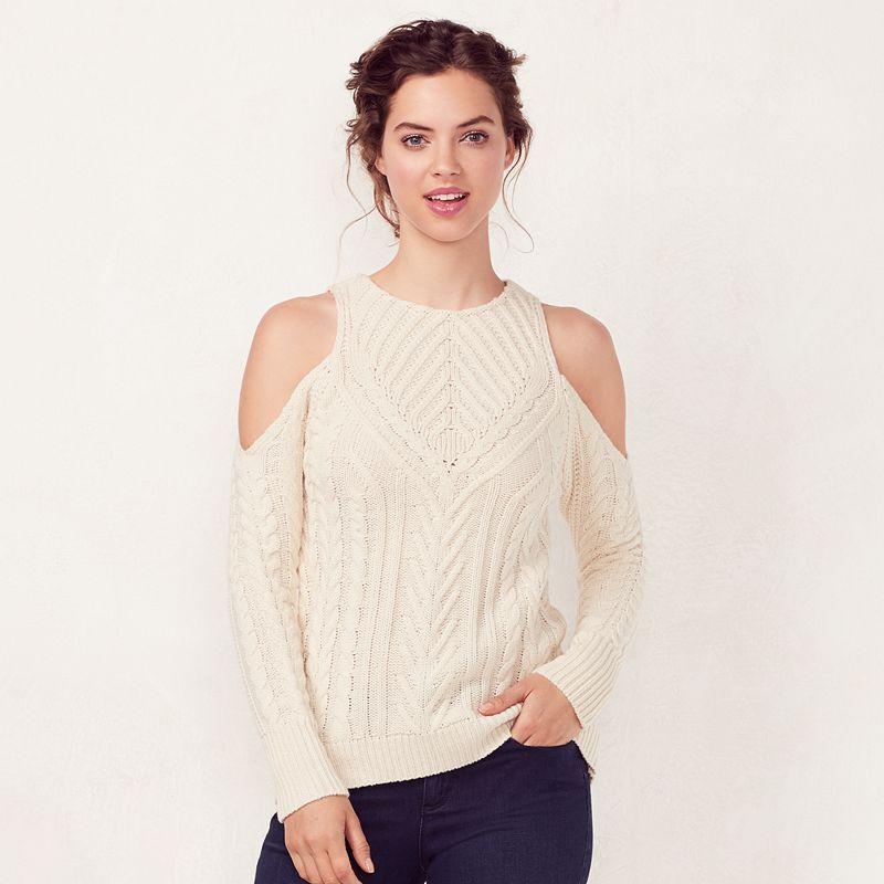 afa3f41b8e42e Women s LC Lauren Conrad Crewneck Cold-Shoulder Sweater