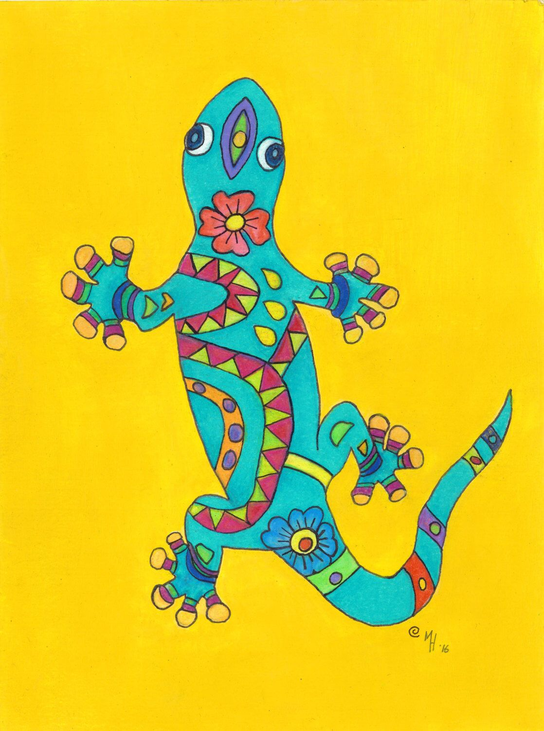Gecko Print , Mexican Folk Art, MargoVangoghCreates, Lizard Print ...