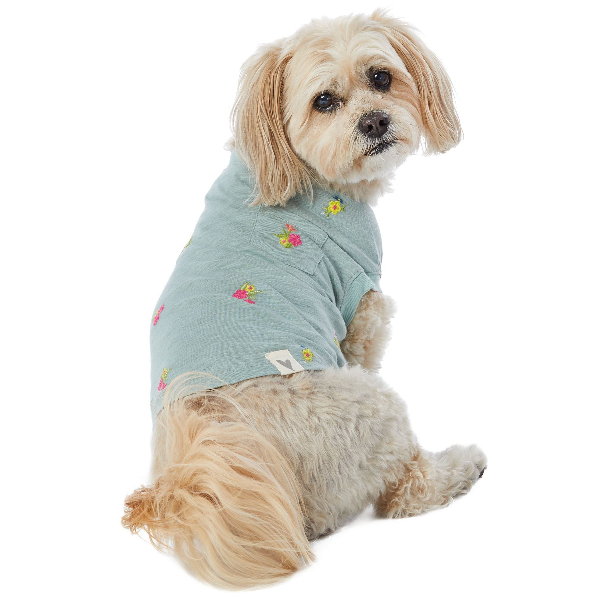 Top Paw Floral Pet Tee Size Small Teal Wash In