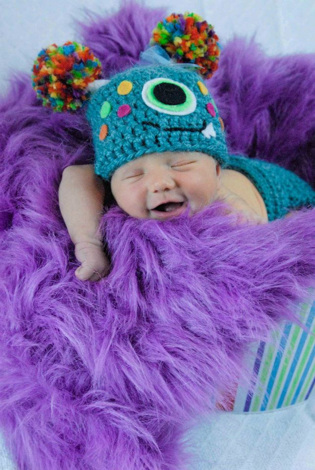 Little Monster PomPom Hat and Diaper Cover - Photo Prop - Newborn.  by Frosted Poppies