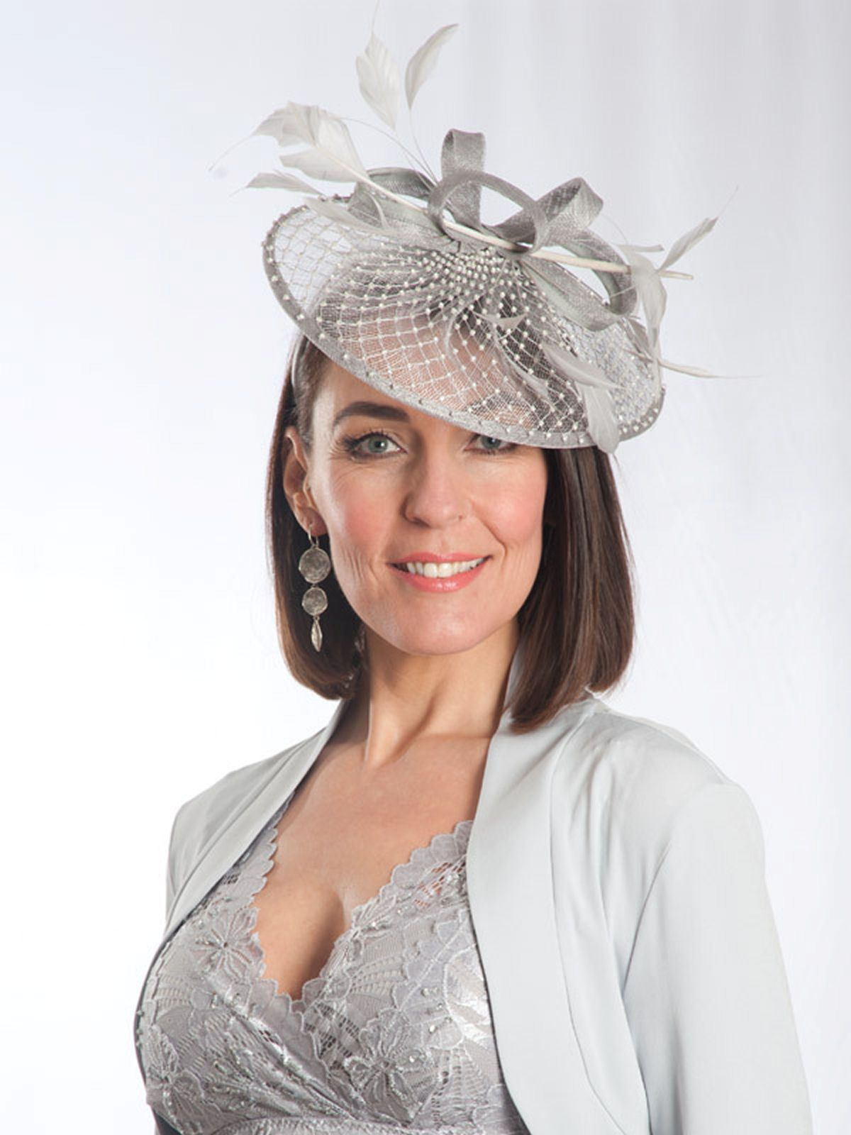 Silver Mother Of The Bride Hats And Fascinators Diamanté Detail Fascinator