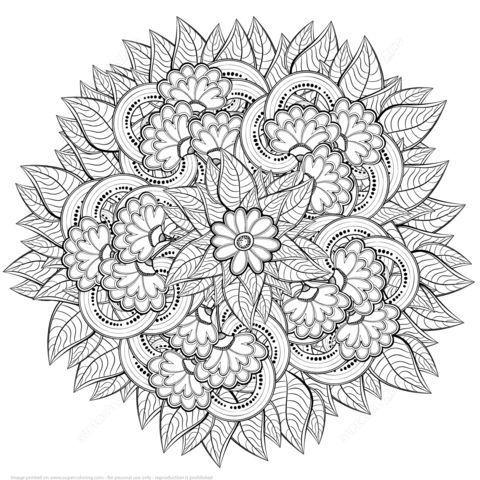 Abstract Flowers Zentangle Coloring Page From Zentangle Category