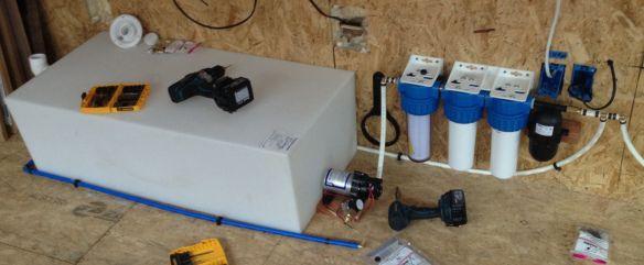 Minim water system installed under bench