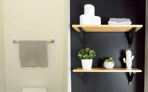 15 Bathroom Budget Transformations For Under $200! #modernpowderrooms