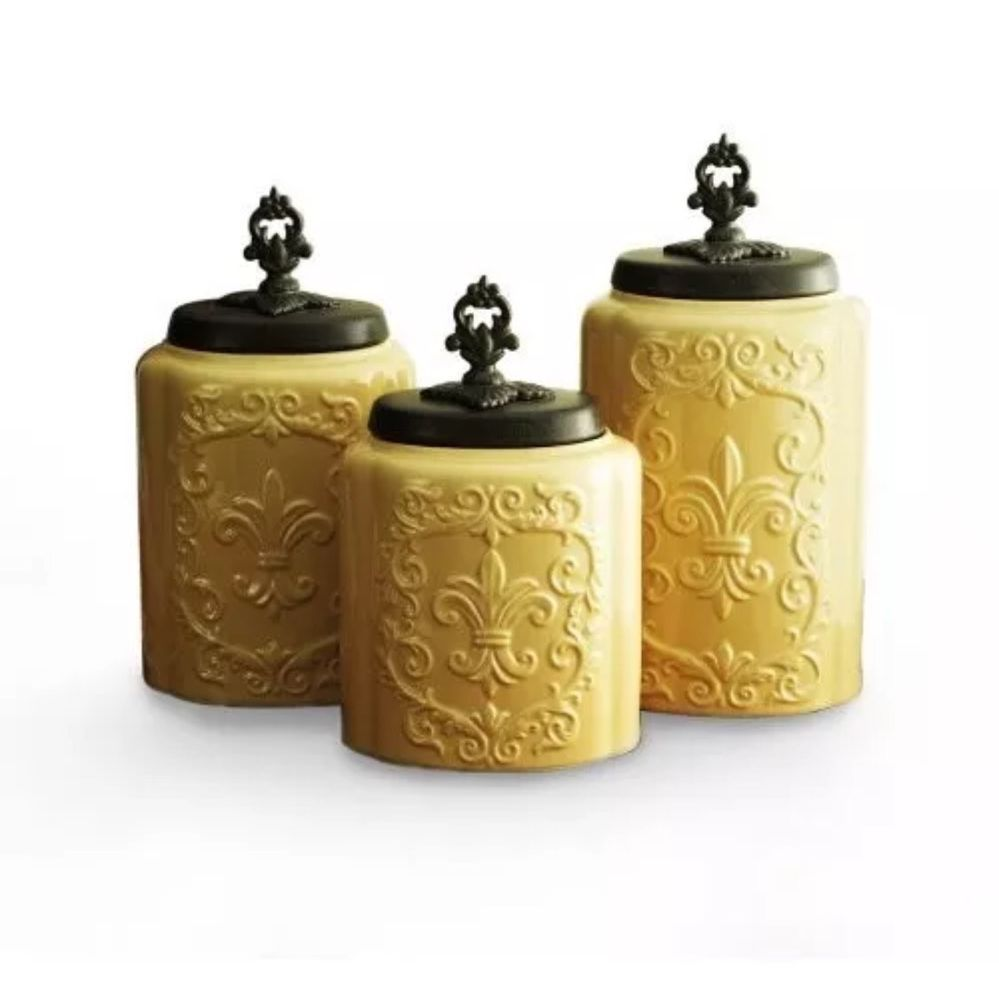 Tuscan old world drake design medium berry kitchen canisters set of 3 - American Atelier Kitchen Canister Set 3 Piece Antique Cream