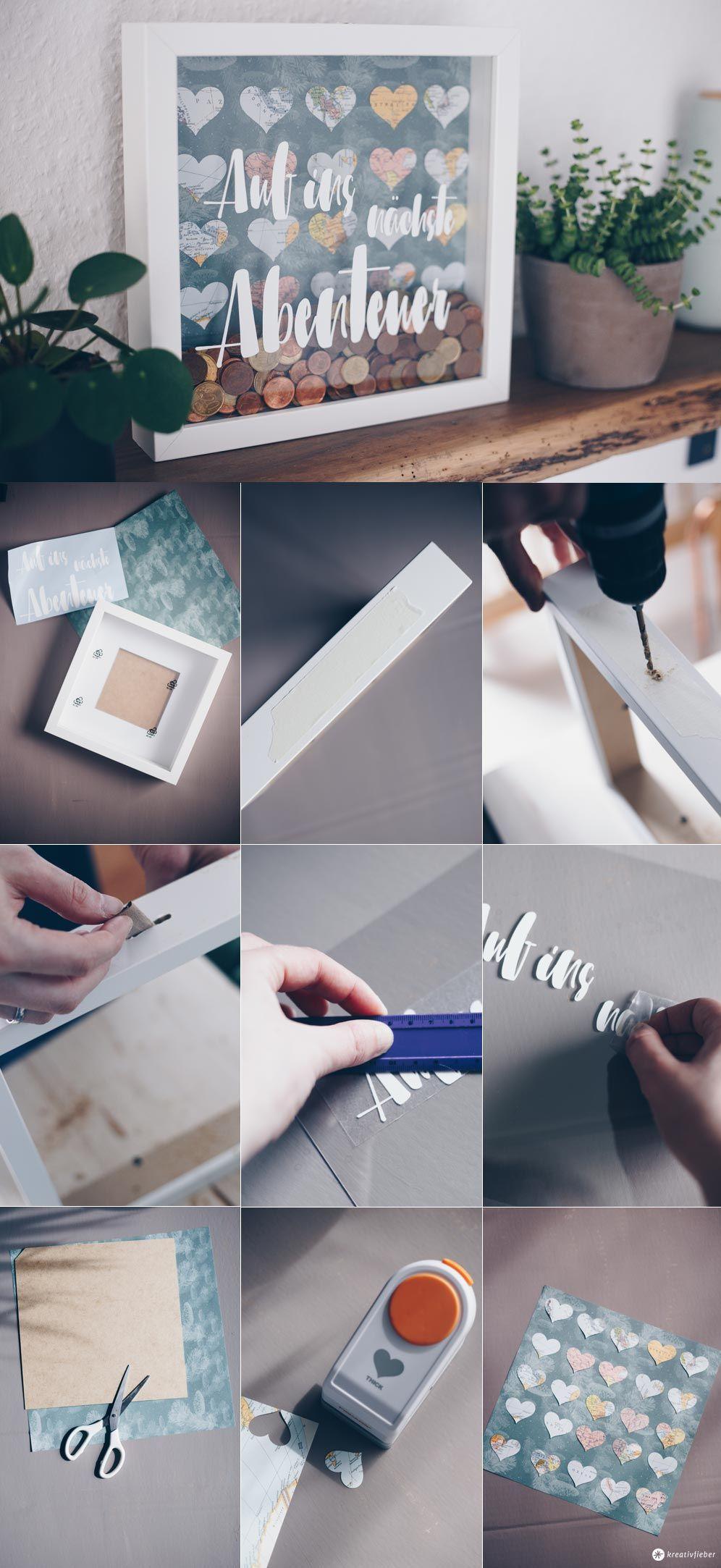 DIY Hochzeitsgeldgeschenk im Ribba Rahmen von Ikea selbermachen - so bohrt ihr ein Loch in den Rahmen #ikeahack #geldgeschenk #diygeschenke