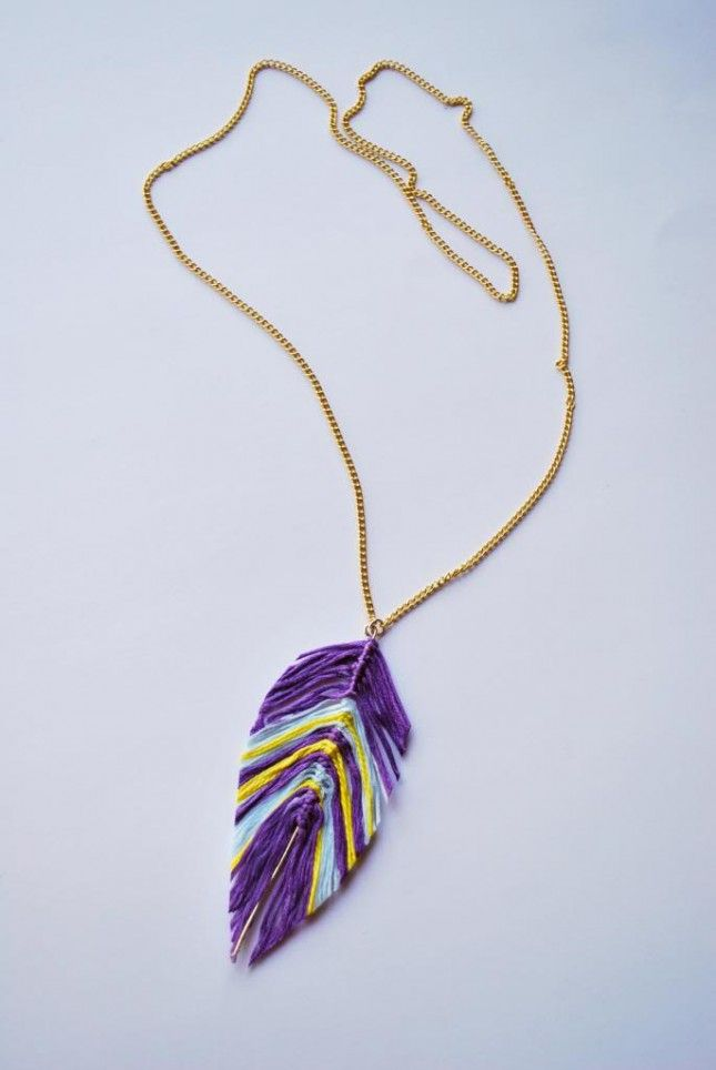 You Can Make A Feather Necklace With This Diy Embroidery Jewelry