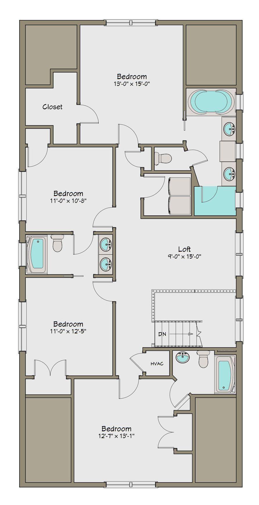 Plano De Planta Alta De Casa Grande De 5 Dormitorios En 248m2 Planos De Casas Casas Caras Casas Grandes