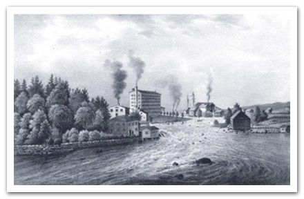Drawing of the Tammerfors Rapids and Finlayson factory, Tampere, Finland. Artist: Lennart Forstén