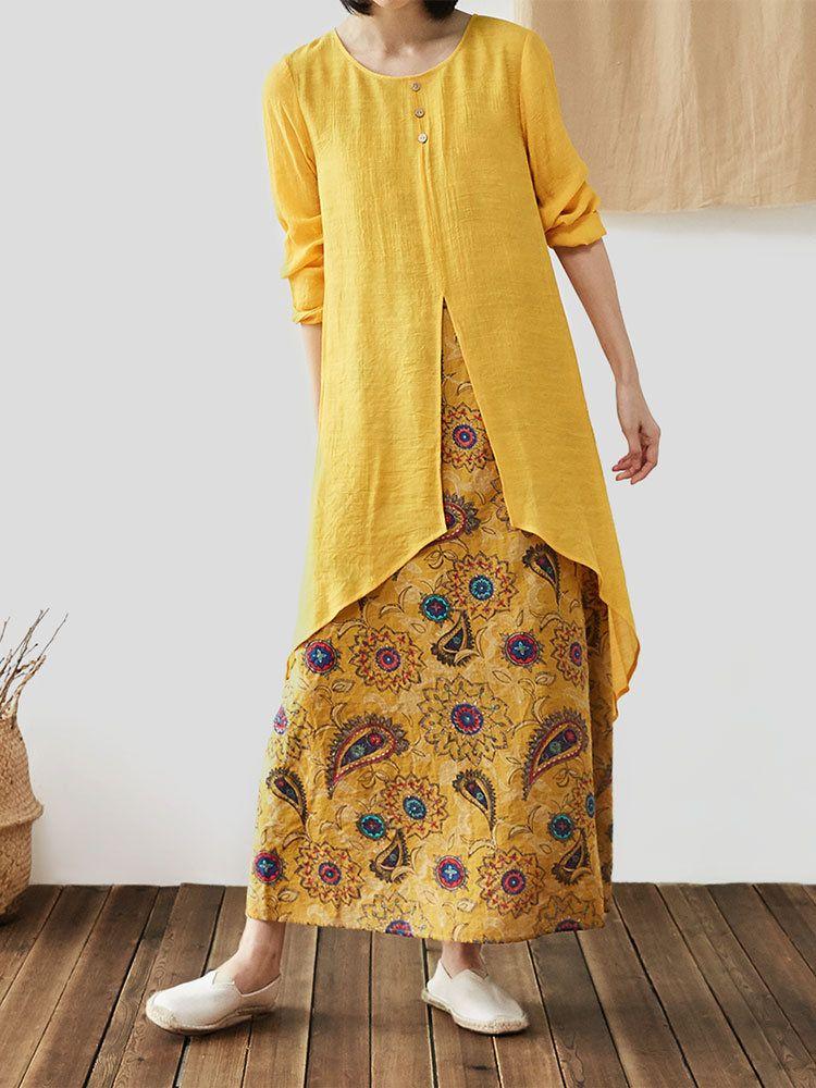Fashion O-NEWE Vintage Patchwork Floral Print V-Neck Plus Size Dress with Pocket... 7