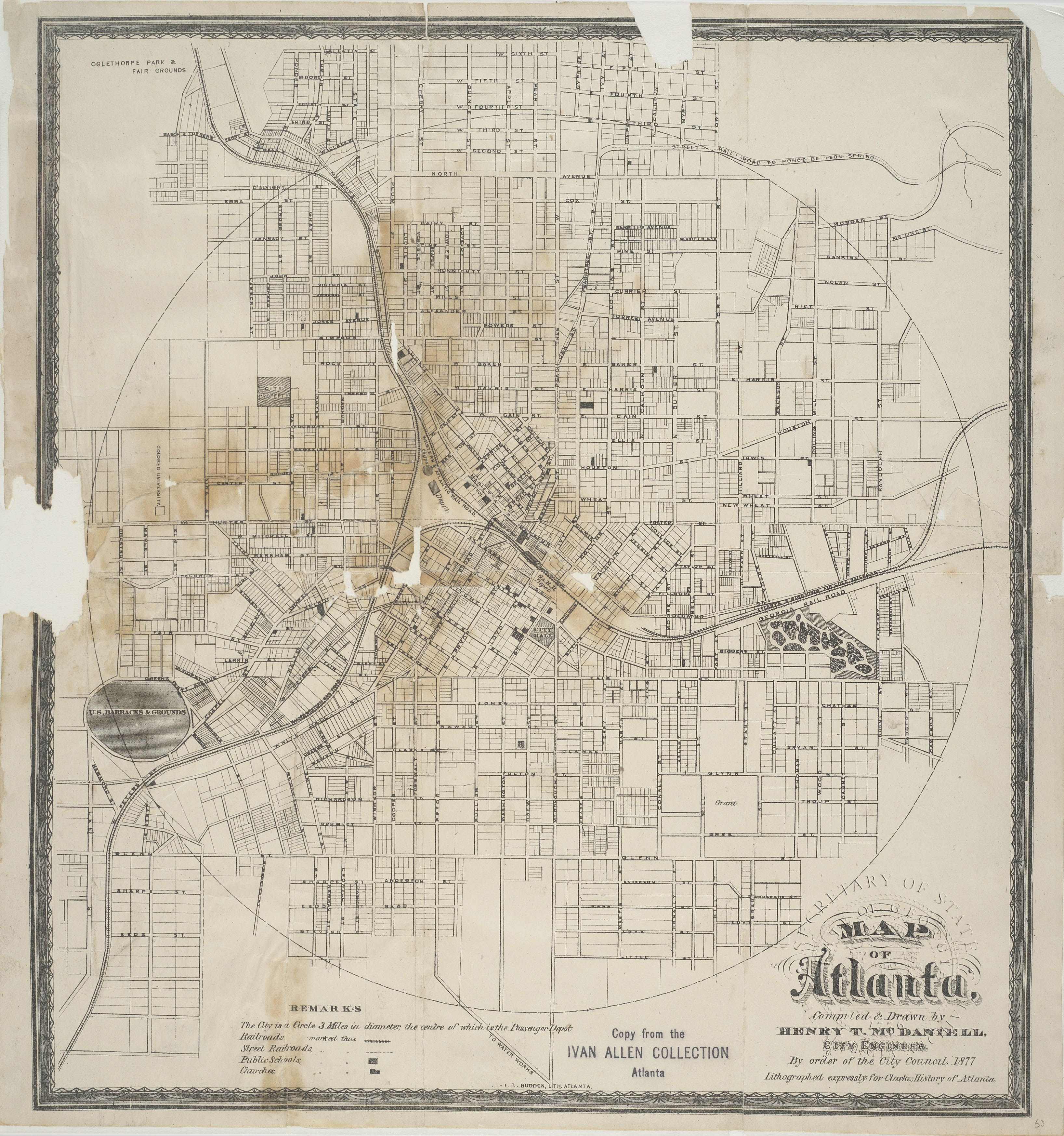 Map Of Atlanta 1877 Atlanta Map Atlanta City Old Map