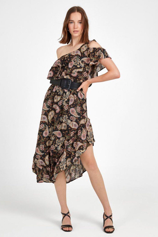 Oxxo Tek Omuzlu Renkli Asimetrik Kesim Midi Elbise Elbisebul Midi Elbise The Dress Elbise