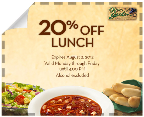 OLIVE GARDEN Reminder Coupon for 20 off Lunch