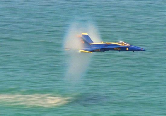 Jet over water