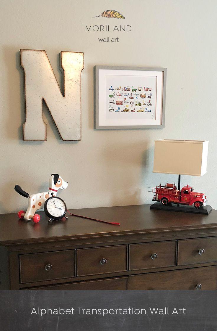 Digger print construction art print toddler boys room decor truck