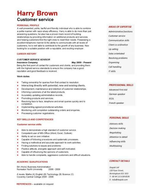 free customer service resumes Customer Service CV Interesting - customer service resume templates free