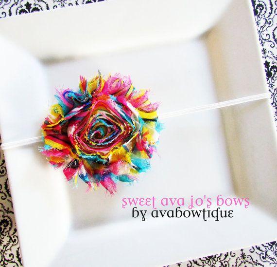 Caroline- Rainbow Frayed Chiffon Rosette Flower Skinny Headband