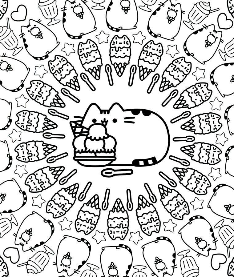 Pusheen Pusheen Coloring Pages Birthday Coloring Pages Cartoon Coloring Pages