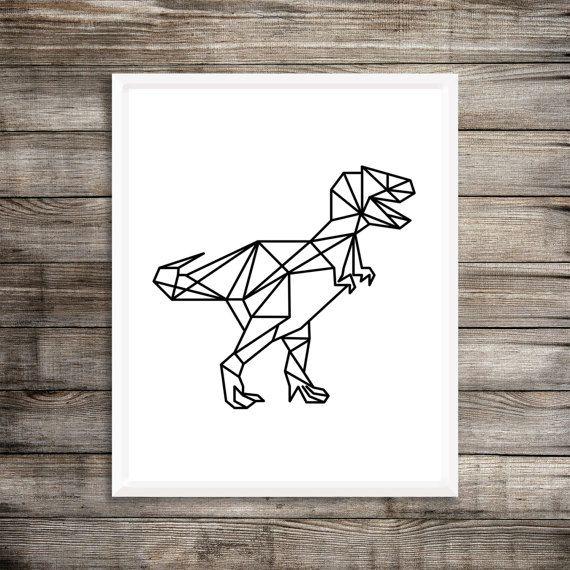 Geometric Dinosaur Art Print - 8x10 Dinosaur Printable, T-Rex Print, Printable Art, Art for Boys, Dinosaur Art, Dinosaur Decor, Trex Print