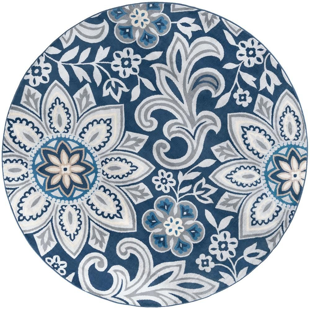 Tayse Rugs Madison Navy 7 Ft 10 In X 7 Ft 10 In Round Area Rug Mdn3907 8rnd The Home Depot Floral Area Rugs Colorful Rugs Suzani Rug