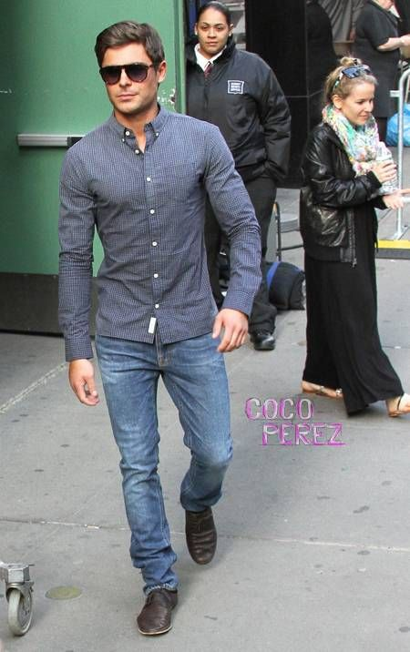 Zac Efron looks amazing in his jeans as he leaves the Good Morning America  studios.