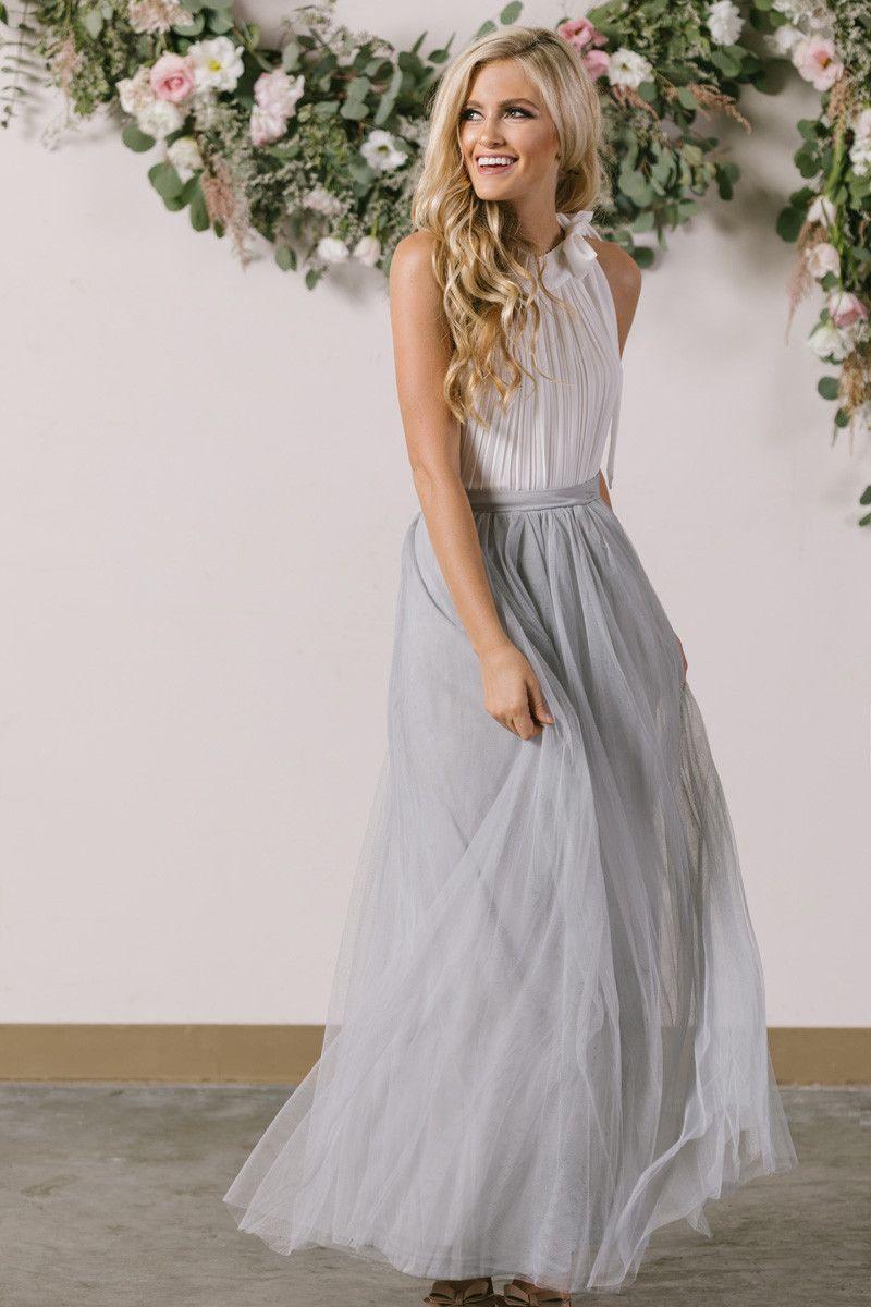 96e81597e59 Anabelle Grey Full Tulle Maxi Skirt in 2019