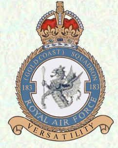 #183 (Gold Coast) Squadron formed at Church Fenton, Nov 1942, it failed to reach operational status until April the following year owing to the teething troubles experienced with the Typhoon.The month after VE-Day, the sqn returned to Britain and exchanged its Typhoons for Spitfire IXs, but before becoming operational these were replaced by Tempest IIs, which were flown until Nov when the squadron was disbanded by being re-numbered #54