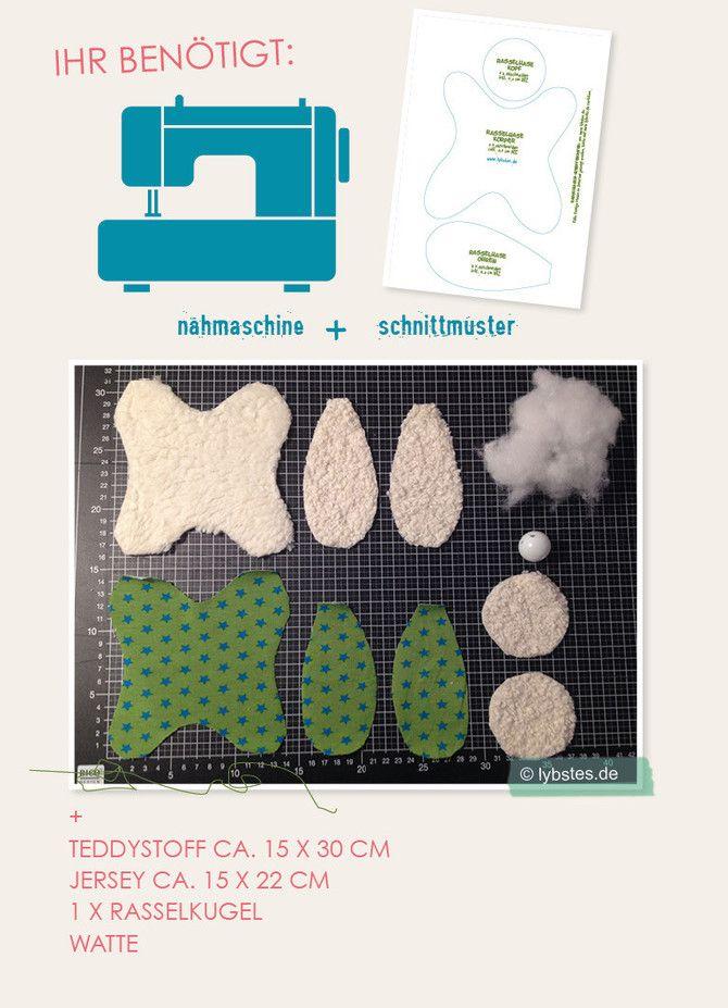 rasselhasen aus stoffresten n hen inkl schnittmuster lybstes basteln n hen. Black Bedroom Furniture Sets. Home Design Ideas