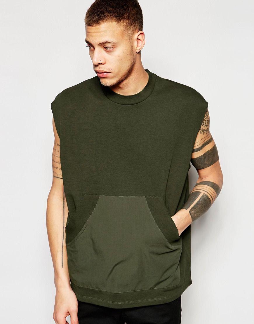 Shop ASOS Oversized Sleeveless Sweatshirt With Woven Pocket In Khaki at  ASOS.