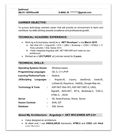 angularjs resume samples - Angular Js Resume