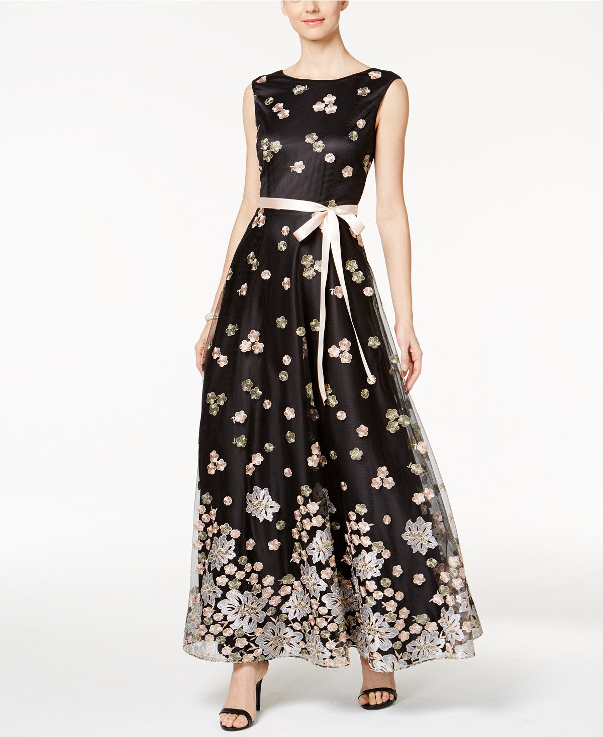 Tahari asl floral embroidered sash gown black gowns floral
