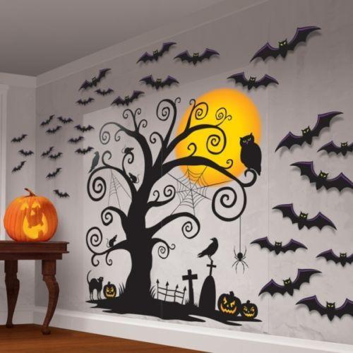 Tree  Bat Wall Decorating Kit - 32 Pieces - Halloween Scene Setter - halloween scene setters decorations