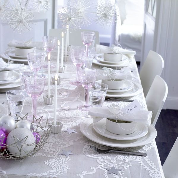 christmas table decorations white and silver