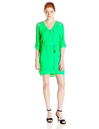 7b79917e4d XOXO Womens 34 Sleeve Lattice Detail VNeck Dress with Tie Waist Green  Medium   You can get more details by clicking on the image.Note It is  affiliate link ...
