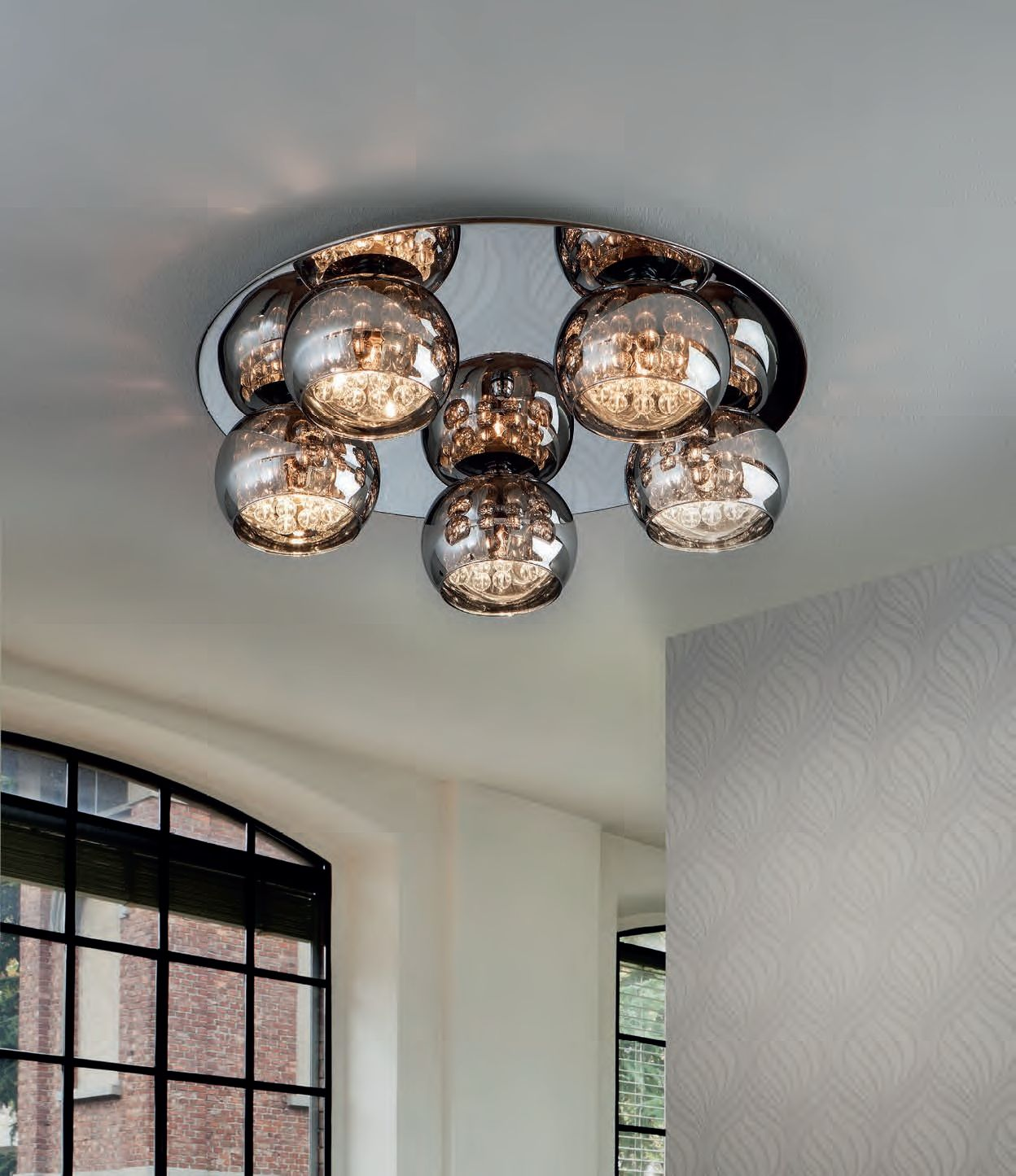 Flush Led Smoked Glass Bendant Light Would Be Great For Low Profile Ceilings Low Ceiling Lighting Low Ceiling Chandelier Ceiling Lights