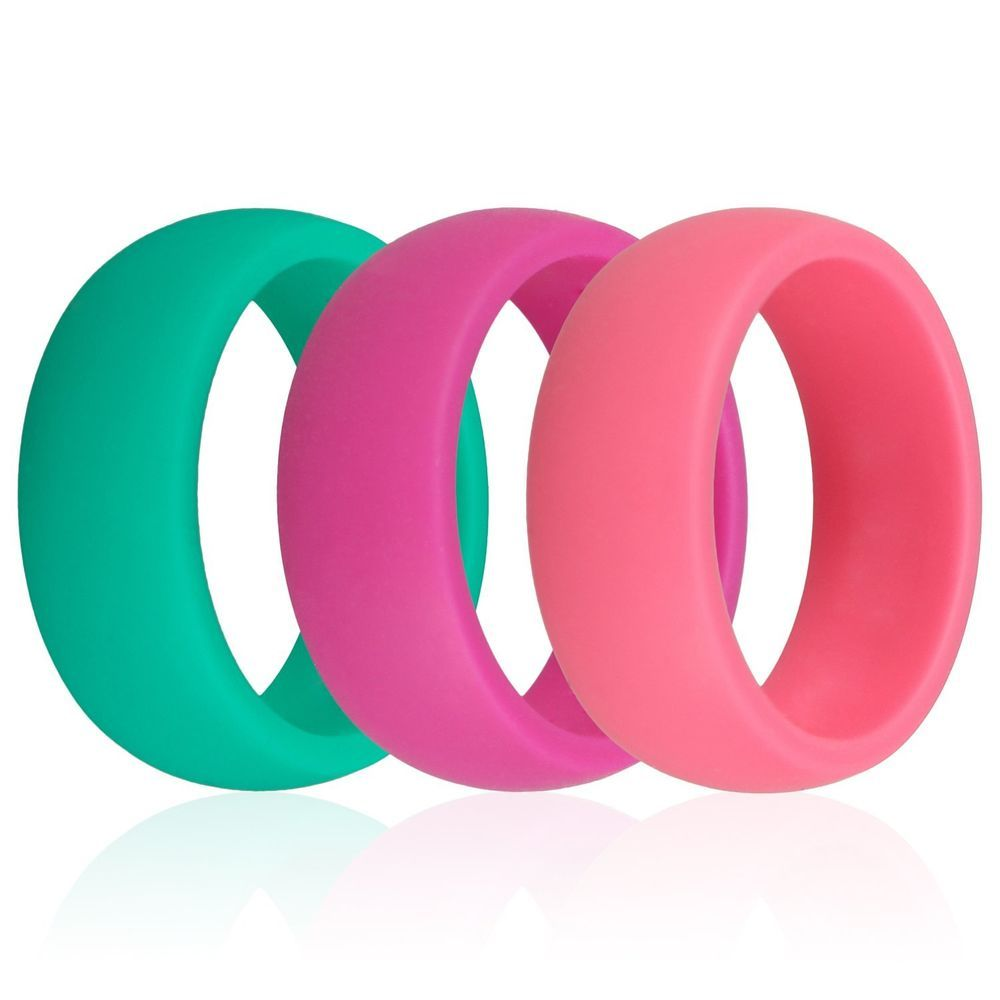 3PCS Men Women\'s Silicone Rubber Wedding Band Rings Flexible ...