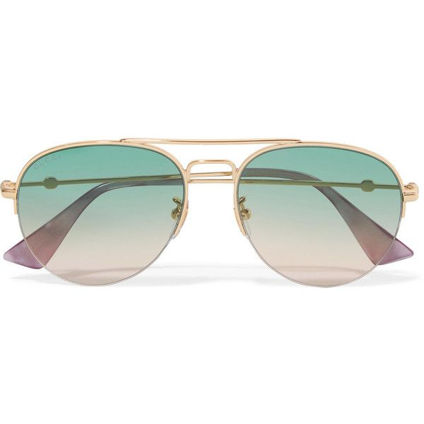 dc6c6423d6566 Gucci Aviator-style gold-tone sunglasses ( 325) ❤ liked on Polyvore  featuring accessories