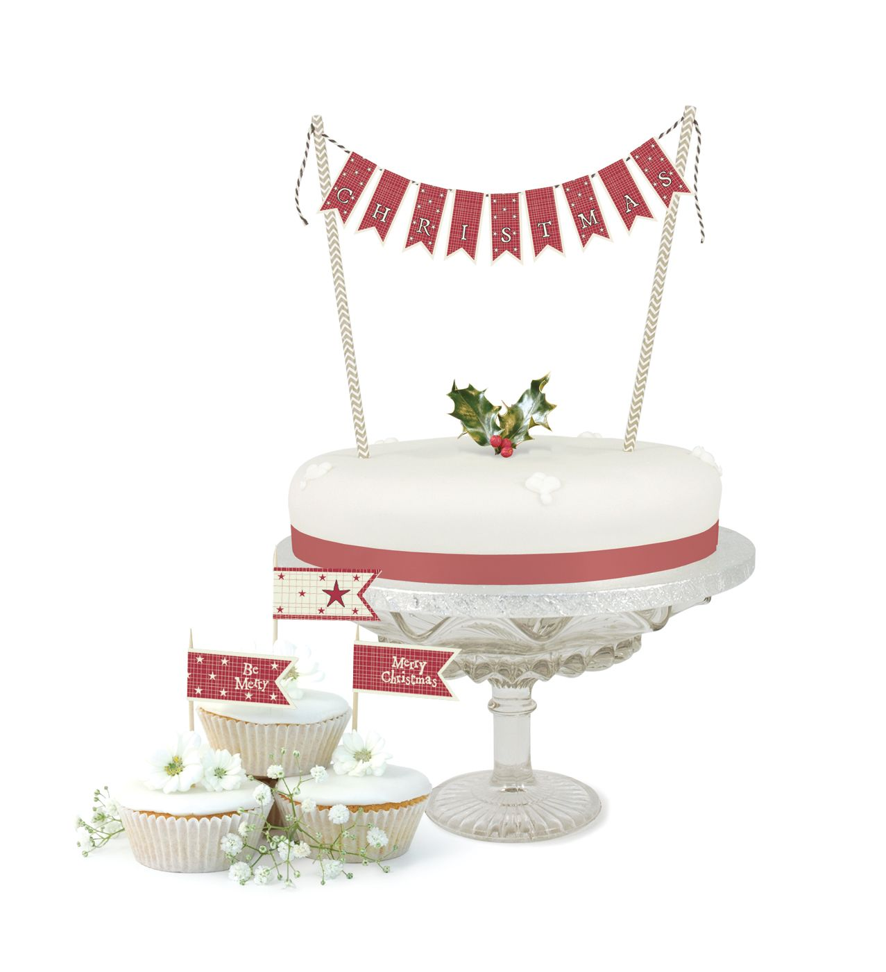 East of India - Christmas Cake Bunting Kit (Code 4893) Cupcake Flag ...