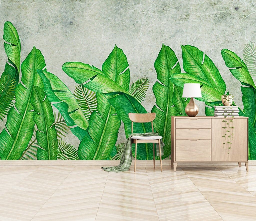 Large Banana Palm Vivid Leaf Wallpaper Tropical Leaves