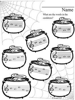 Fall exercise. What are the notes/words in the cauldrons