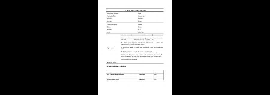 Catering Agreement Contract  Agreement With Catering Company