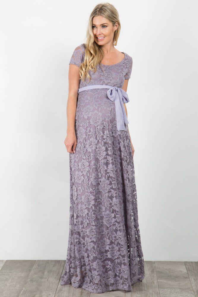 9351db44c1bd0 Lavender Lace Sash Tie Maternity Gown   maternity fashion & info ...