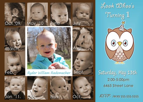 Look Whoos Turning one invitation OWL Theme Birthday Party – Birthday Invitations for Baby Boy 1st