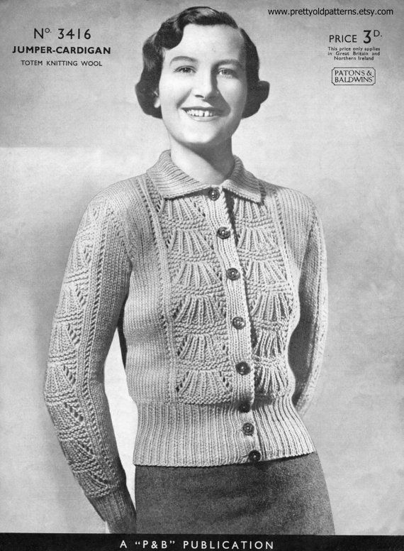 1930s Ladies Lace Front Jumper Cardigan 38\