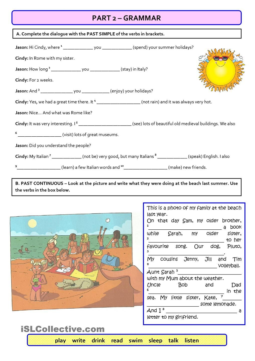 Test a1 holidays version b students with special needs this test focuses on the topic holidays it includes a reading comprehension multiple choice tf b grammar past simple continuous c vocabulary robcynllc Gallery
